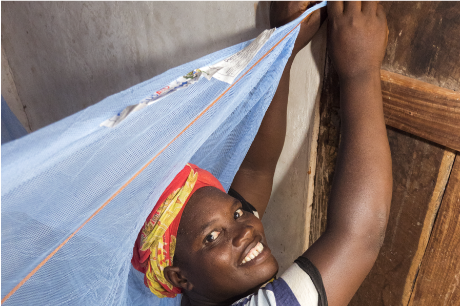 Woman hanging long-lasting insecticidal net
